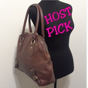 LARGE BEAUTIFUL Brown Leather Bowling Styled Bag